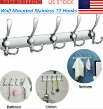 12 Hooks Wall Mounted Stainless Steel Coat Hat Clothes Hook Rack Hanger USA