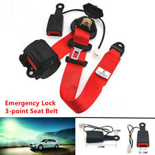 Universal Adjustable Retractable Car 3 Point Seat Belt Lap Diagonal Belt Red Set