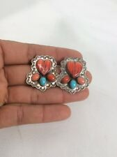 vtg. Native American Carol Felley sterling 925 turquoise Spiny Oyster earrings 2