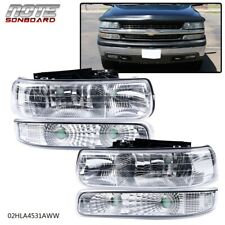 Clear Lens Headlights Assembly For 1999-2002 Chevy Silverado Bumper Lamps LH+RH