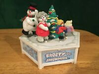 Vintage Enesco Moving Frosty The Snowman Skaters Music Box Used Free Shipping!