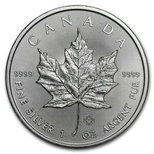 2021 MAPLE LEAF $5 CANADA ONCE ARGENT PUR OUNCE OZ SILVER 5 DOLLARS