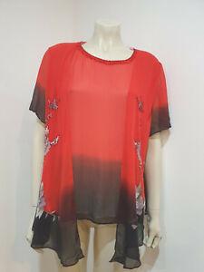 Black Red Hand Painted Embellished Lined Short Sleeve Blouse Jacket Size 10 ?