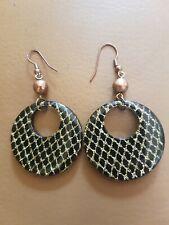 Accessorize Black & Gold Hoop Drop Dangle Earrings