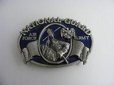 National Guard Air Force Army Enamled Military Belt Buckle Bergamot 1982 Vintage