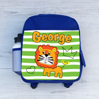 Personalised Lion Boys Kids Backpack Childrens School Bag Green Lines