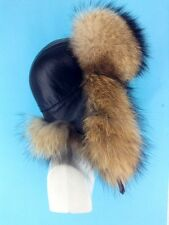 Natural Raccoon Fur Ushanka Hat With Leather Saga Furs Regular Men's Size Hat