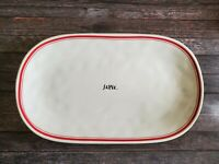 """NEW Rae Dunn HTF Cursive SL Glossy """"SERVE"""" Platter with Red Stripes and Dimples"""