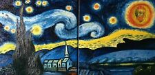 Original Oil Painting Canvas Van Gogh inspired Sunset Landscape Wall Art Artist