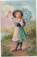 B 691 Pfingsten 1911 ! Mädchen mit Vergissmeinnicht ! schöne Prägekarte !