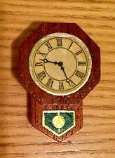 VERY VINTAGE LUNDBY Dollhouse Original Dark Wood Wall Clock (faux) RARE!!