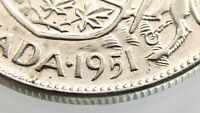1951 Canada 50 Cents Narrow Date ND Half Dollar Circulated George VI Coin R643