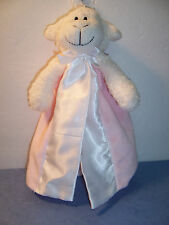 """SECURITY BLANKET FIRST FRIENDS LAMB PINK/WHITE PACIFIER HOLDER 8""""  - VGC"""