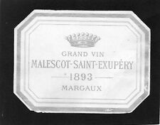 MARGAUX 3EGCC VIEILLE LITHOGRAPHIE CHATEAU MALESCOT ST EXUPERY 1893  §07/03/18§