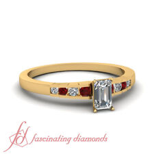 Ruby And Emerald Diamond Yellow Gold Womens Engagement Rings Channel Set 0.70 Ct