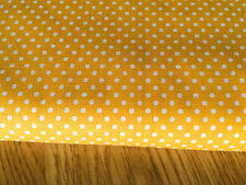 Shabby Chic White spots on Yellow 100% Cotton Fabric. Price per 1/2 meter