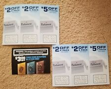 6 Parliament Cigarette Coupons valued $18.00 & 1 Vuse Coupon Expires 2/28/2021