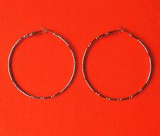 Pretty Large Silver Tone Big Circle Patterned Hoop Earrings: 58mm/5.8cm: UK