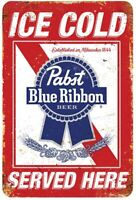Pabst Ice Cold Beer Served Here Bar Man Cave Retro Metal Sign 8 x 12
