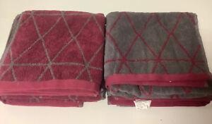 4X Savor doubleface Handtuch Badetuch Bio Baumwolle 50x100  Raute Grau Rot  LV++