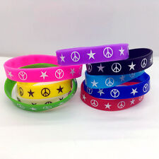 New 20pcs Peace Silicone Bracelet Multi-colors Wristband Wholesale Jewelry Lot