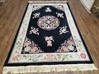 5x8 Vintage Hand Tufted Chinese Wool Area Rug Black Carpet