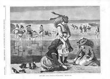 Low Tide   -   by Winslow Homer   -  1870  Antique Print