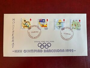 MONTSERRAT 1992 FDC SUMMER OLYMPICS BARCELONA TORCH BOXING SWIMMING BASKETBALL