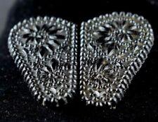 Glass 2 Piece Sash Buckle Z20 Ladies Fabulous Victorian Fancy Cut Black