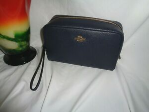 Coach F24797 Crossgrain Leather Cosmetic Case 20 Makeup Bag Midnight Travel Pouc