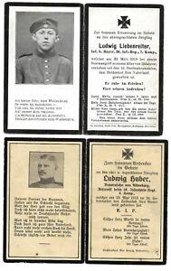 "WW1 Cards: 2 X German ""In Memoria"" (AKA Death Cards) For Infantrymen KIA"