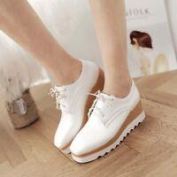Korean Fashion Womens Girls Wedge Platform Lace Up Creeper Shoes Brogue Pumps