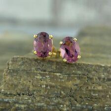 Rhodolite Garnet 7 x 5 mm Oval Earrings Studs 14K Yellow Gold Liquidation Price