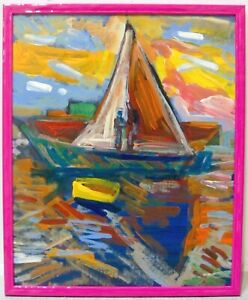 JUAN GUZMAN Contemporary Abstract Expressionist Pink Boat Seascape Signed CA Art