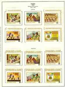 GUINEA 1968 BOY SCOUTS ON STAMPS SCOTT 535-540 W/MINI SHEETS PERF & IMPERF