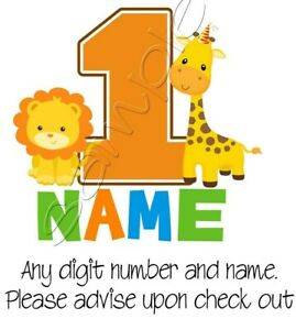 Iron on Transfer PERSONALISED BIRTHDAY GIRAFFE LION BABY animal party 13x12cm