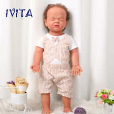 IVITA 22'' Full Silicone Reborn Dolls Brown Rootting Hair Baby Boy With Skeleton