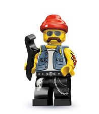 Lego minifig series 10 Motorcycle Mechanic with wrench spanner bikie tattoos
