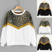Womens Casual Long Sleeve Blouse Patchwork Leopard Print O-Neck Tops Sweatshirts