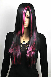 Hot Sell Fashion Long Black Mix Pink Straight Hair Women's Lady's Hair Wig Wigs