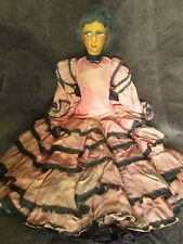 Antique rag doll Spanish lady painted cloth face human hair wig handmade