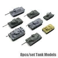 8pcs 4D 1:144 World War II Tanks Heavy Weapons Armor Tank DIY Assembly Models