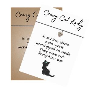 Crazy Cat Lady Verse Card Wish Bracelet Cat Heart Charm - Friendship Wristband