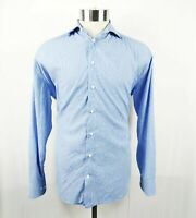 Armani Collezioni Mens Shirt Button Front Size Medium Blue Stripe Long Sleeve