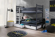 WOODEN BUNK BED WITH MATTRESSES & STORAGE. Grey