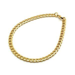 Stainless Steel 5mm Curb Chain Bracelet Mens Golden 21cm UK