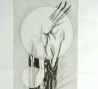 FANTASTIQUE Dessin Encre de Chine SURREALISTE 70th Signé AGAPIN