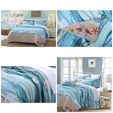 King Size 3 Piece Cotton Quilt Set Blue Nautical Ocean Beach Bedding Shams Set