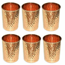 100% Pure Copper Water Glass 300ml each Hammered High Quality Set of 6 Pcs