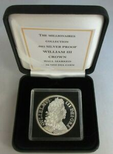 THE MILLIONAIRES COLLECTION WILLIAM III CROWN H-MARKED SILVER PROOF BOX/COA